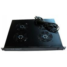 """Tiroir de ventilation 19"""" noir 1U 4 ventilateurs avec thermostat"""